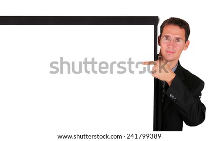 Young business man at white board - stock photo