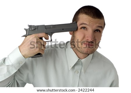 young business man attempting suicide with pistol on white - stock photo