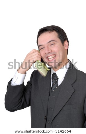 young business man calling with a shoe isolated on white