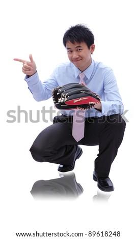 Young Business man catch baseball - stock photo
