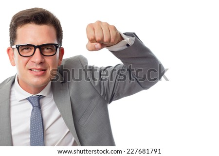 Young business man close up over white background. Looking upset - stock photo