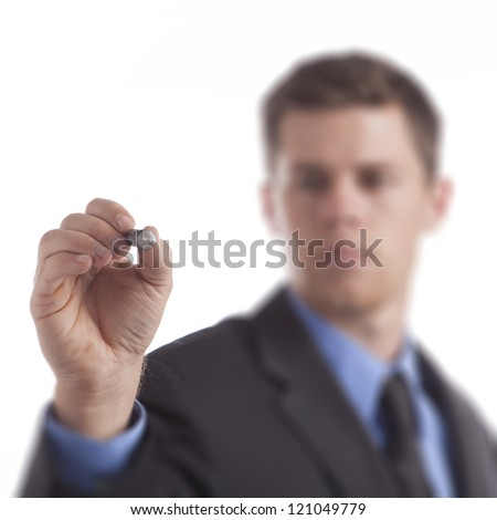 Young business man draws blank diagram on a white background. - stock photo