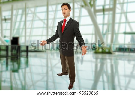 young business man full body at the office - stock photo