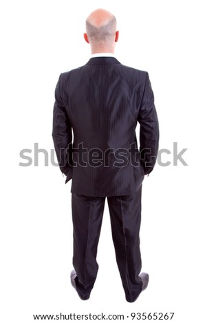 young business man full body from back - stock photo