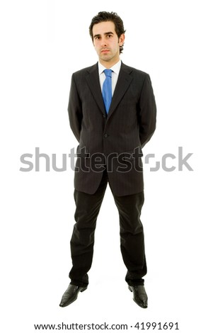 young business man full body isolated on white background - stock photo