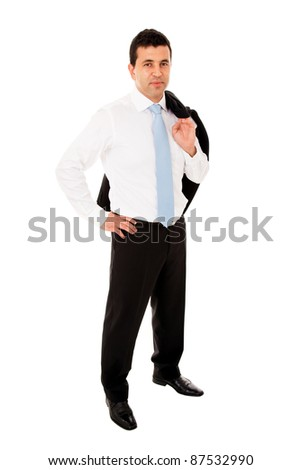 young business man full body standing with coat over the shoulder on white background