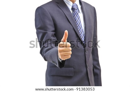 Young business man giving thumb up, isolated on white - stock photo