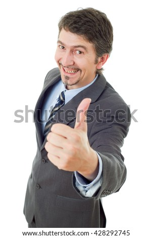 young business man going thumb up, isolated on white - stock photo