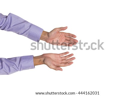 Young business man hands explaining to colleague to makes inspiration or motivation, isolated on white background.