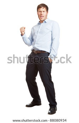 Young business man happy about achievement isolated on white background - stock photo