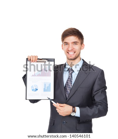 young business man happy smile, businessman in elegant suit point to diagram, graph, business charts, holding clipboard, financial business plan, isolated over white background