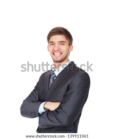 young business man happy smile with folded hands, Handsome businessman wear elegant suit and tie isolated over white background