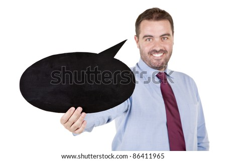 young business man holding a speech balloon over white background - stock photo