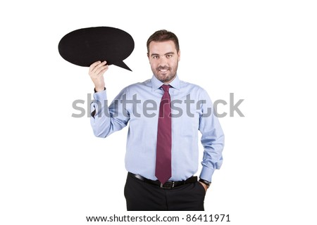 young business man holding a speech balloon over white background