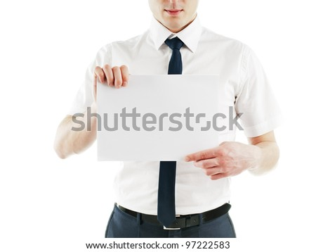 young business man holding and holding blank white card ready for your text. isolated on white