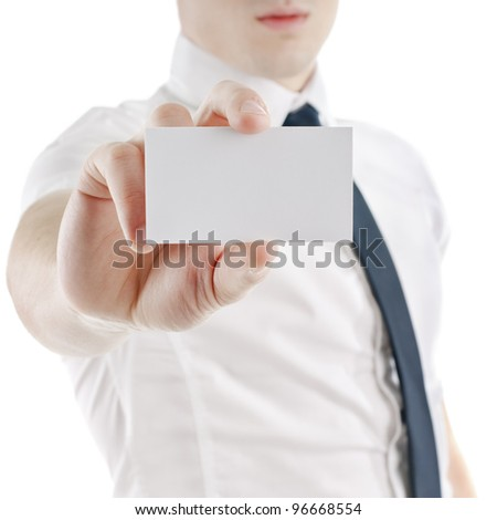 young business man holding and showing blank card ready for your text. isolated on white