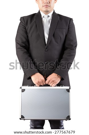 young business man holding strong metal briefcase in hand isolated white background