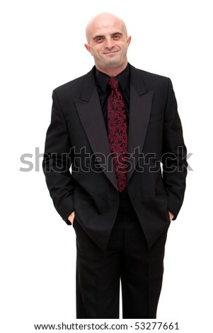 Young business man in dark suit - stock photo