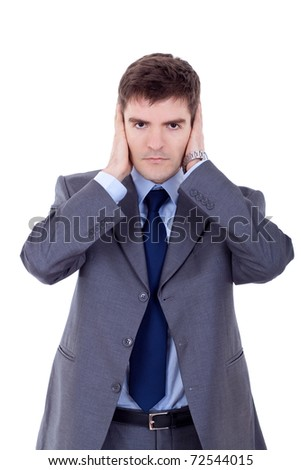 young business man in the Hear no evil pose - stock photo