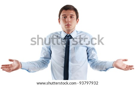 young business man is confused. Isolated on white - stock photo