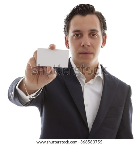 young business man is holding empty card for your own text over white background