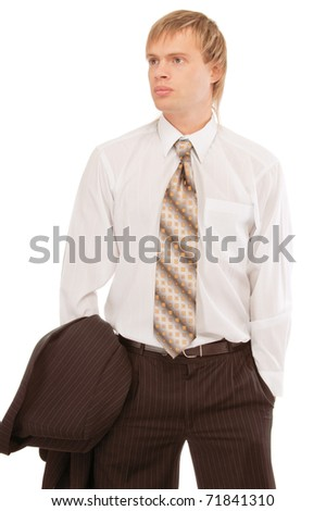 young business man, isolated on white background. - stock photo