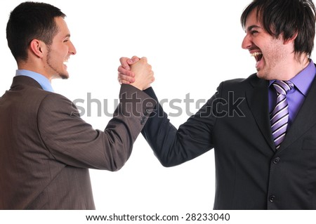 young business man isolated on white hand shake