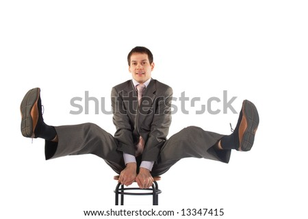 Young business man legs up