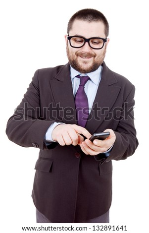 young business man looking to his phone, isolated - stock photo