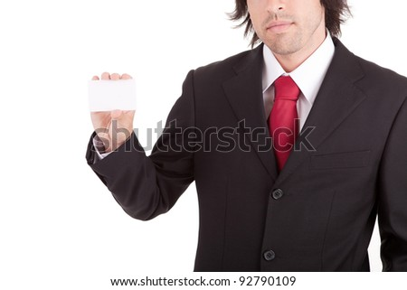 Young business man offering greeting card