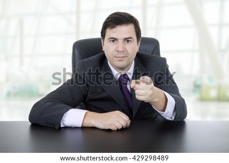 young business man on a desk, at the office