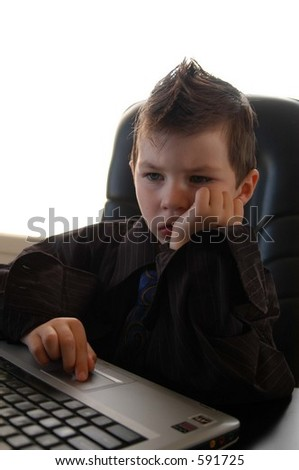 young business man on lap top computer