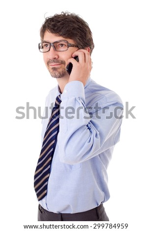 young business man on the phone, isolated - stock photo