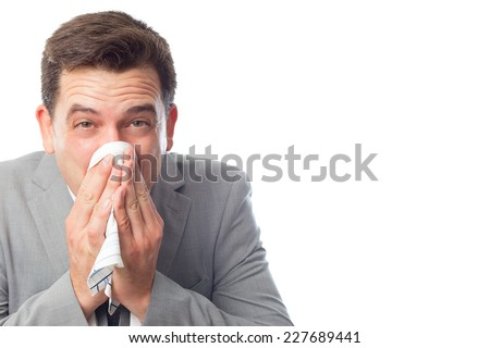 Young business man over white background. Looking sick - stock photo
