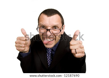 young business man playing silly, isolated on white - stock photo