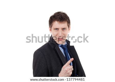 young business man pointing at on a white background