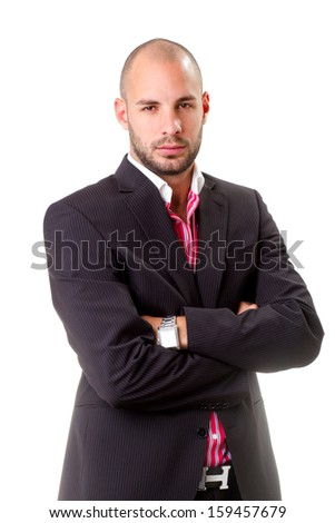 young business man portrait - isolated - stock photo