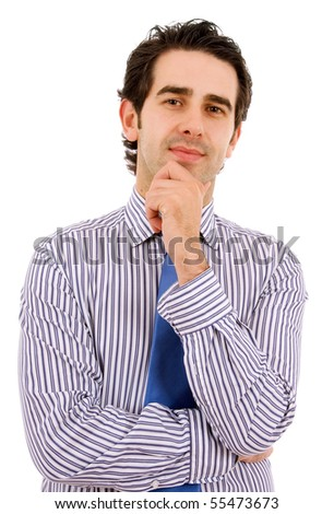 Young business man portrait, isolated on white