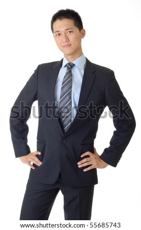 Young business man portrait of Asian with formal suit. - stock photo