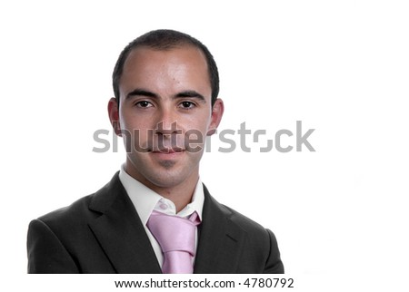 young business man portrait on white background - stock photo