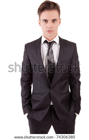 Young business man posing, isolated over white - stock photo