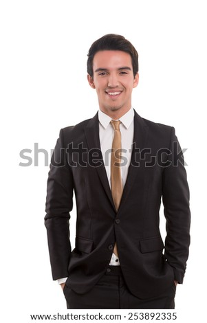 Young business man posing isolated over white background