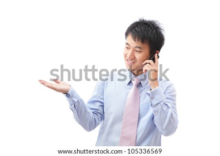 Young Business man presentation with empty copy space and smile speaking mobile phone isolated on white background, model is a asian - stock photo