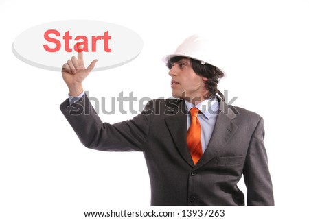 young business man presses key, isolated on white background