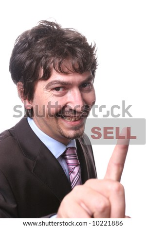 young business man presses the sell button