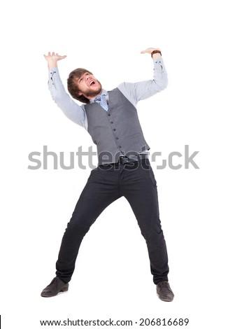 young business man pushing something up isolated on white - stock photo