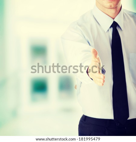 Young business man ready to set a deal - stock photo