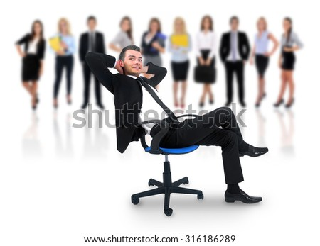 Young business man relaxing at office