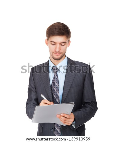young business man serious writing on clipboard, Handsome businessman wear elegant suit and tie isolated over white background, concept of sign up contract document - stock photo