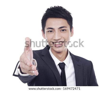 Young business man shake hand, closeup - stock photo